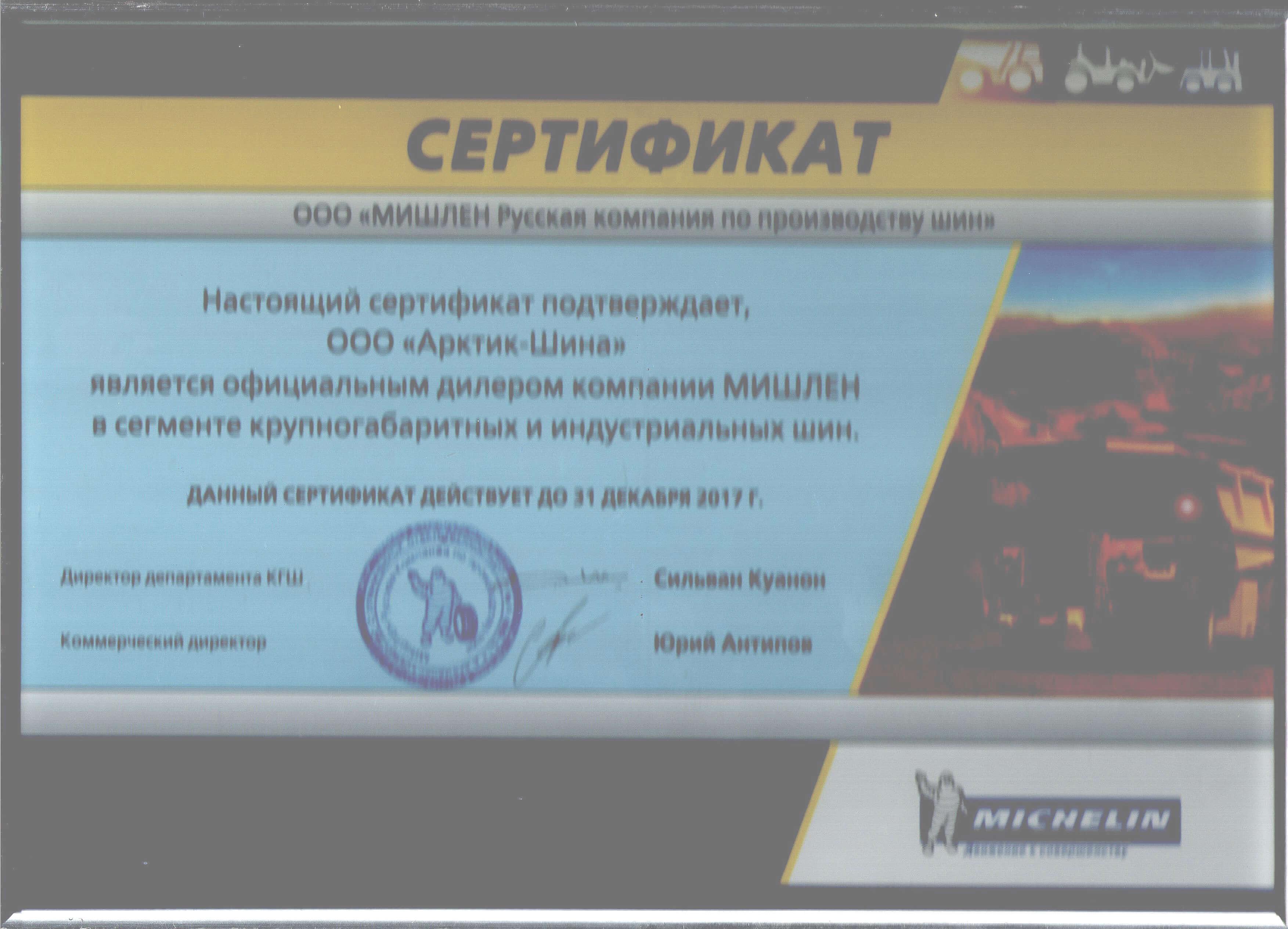 Сертификат КГШ Michelin 2017 001-1
